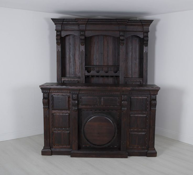 The iconic and classical home bar is finished in a deep mahogany stain that is timeless. the carved and beveled detail through out add character. | eBay!