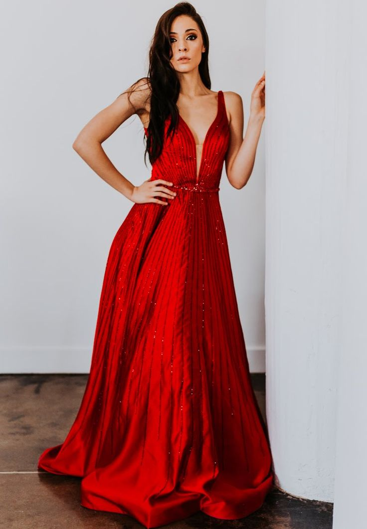 Sherri Hill cherry red flowy beaded dress with deep v neckline Ypsilon Dresses Prom Pageant Homecoming Sweethearts Special Occasion Holiday NYE New Years Eve dress formal formalwear
