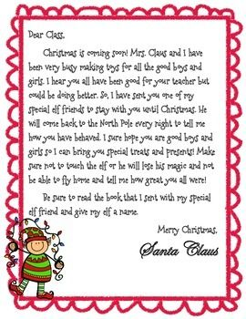 "Doing ""Elf on the Shelf"" in your classroom? Need a FREE Elf introduction letter to introduce your new friend to your class? Look no further! Here is a cute elf intro letter that is perfect for introducing your sweet friend to your class.  Border: http://www.teacherspayteachers.com/Product/Fuzzy-Bumps-Borders-Graphics-From-the-Pond-194191  Clip Art: http://www.teacherspayteachers.com/Product/Elf-Christmas-Party-Creative-Clips-Digital-Clipart-749789"