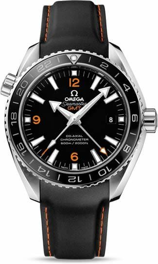 Planet Ocean 600M Omega Co-axial GMT 43.5mm 232.32.44.22.01.002.The OMEGA Seamaster Planet Ocean 600M GMT is water resistant to 60 bar (600 metres / 2000 feet), and has a helium-escape valve. The OMEGA Co-Axial calibre 8605 at the heart of this certified chronometer timepiece can be seen through the transparent caseback.