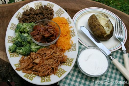 Baked Potatoes in the slow cooker and a potato toppings bar from @pocketchangegourmet