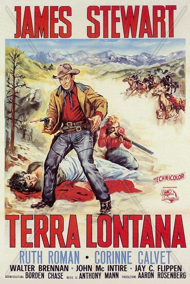 Walter Brennan western films | Terra lontana 1955 Western Locandina- James Stewart Walter Brennan ...