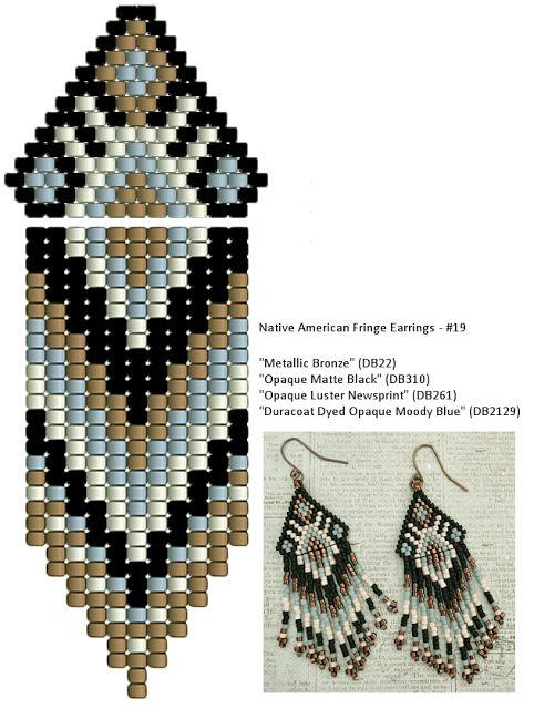 Linda's Crafty Inspirations: Native American Fringe Earrings - Moody Blue & Black