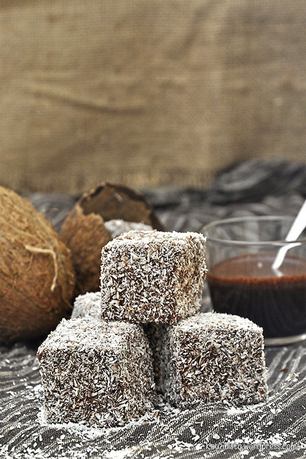 Nistisima Kuchen mit Kokos und Schokolade lamingtons / Vegan lamingtons