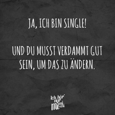 Ja, ich bin single! Und du musst verdammt gut sein, um das zu ändern.