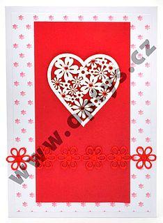 Výřez květinové srdce bílá/červená, 12ks