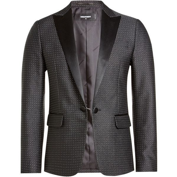 Dsquared2 Blazer ($855) ❤ liked on Polyvore featuring men's fashion, men's clothing, men's sportcoats, polka dots, satin lapel blazer, blazer jacket, dsquared2, satin blazer and dsquared2 jacket