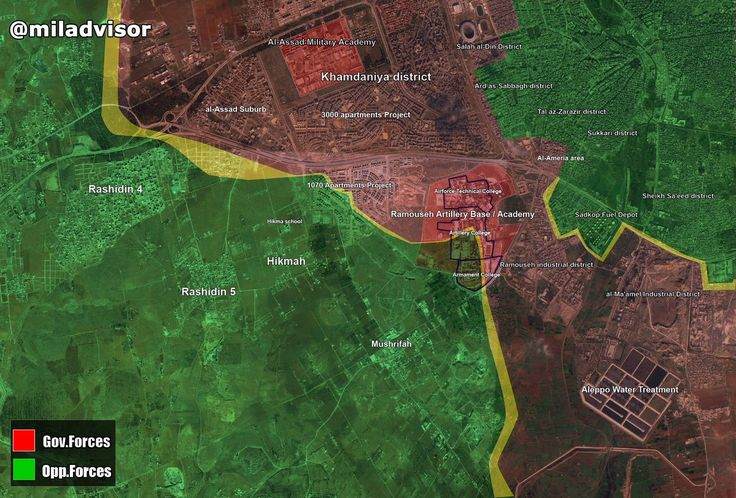 Map Update SW #Aleppo: - #SAA #Tiger_Forces have recaptured the Artillery College & cleaning the Arming College @ the south section of the #Ramouseh Artillery Base - Very violent clashes ongoing on all axes