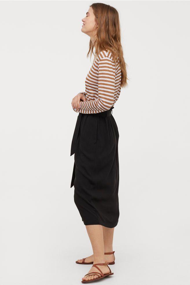 e3b7a8877f9 H M Paper-bag Skirt - Black in 2019