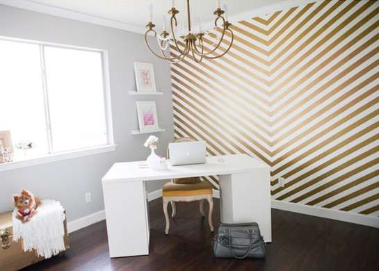 These chevron painted walls can be accomplished by tracing your lines, then taping off the areas you don't want painted