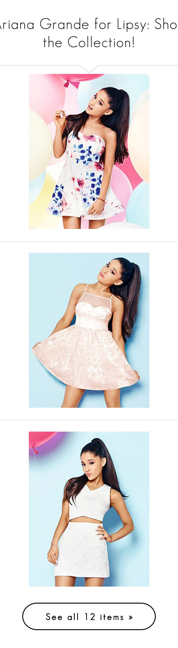 """Ariana Grande for Lipsy: Shop the Collection!"" by polyvore-editorial ❤ liked on Polyvore featuring DateNight, ArianaGrande, lipsy, dresses, flower print dress, floral printed dress, floral bandeau dress, floral prom dresses, botanical dress and pink prom dresses"