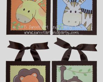 Descarga inmediata selva animales vivero pared por scadesigns