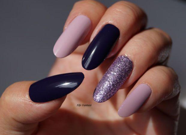 Glitter Purple Oval nails, Nail Art, Nail Designs, Nails, Oval nails, Pointy nails, Fake nails
