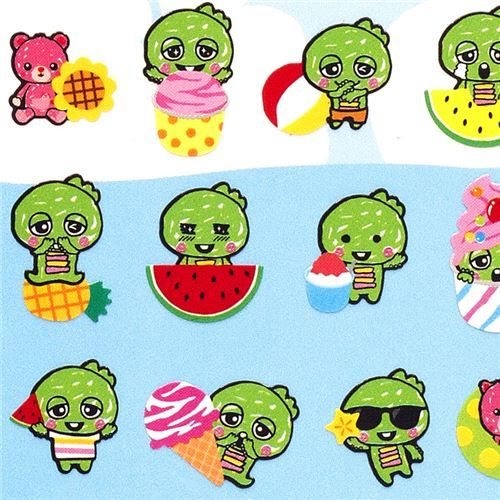 cute small stickers Gachapin green monster summer ice  small colourful green monster stickers from Japan with melon, ice cream etc.