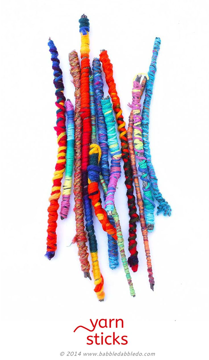 Easy Crafts for Kids: Yarn Sticks. Make them as a standalone craft or for use in other projects.