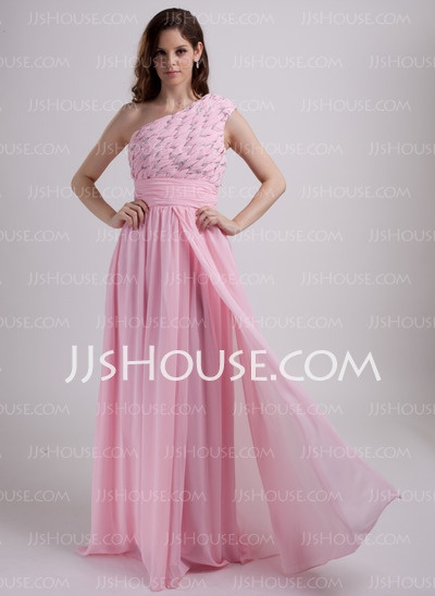 Holiday Dresses - $152.69 - A-Line/Princess One-Shoulder Floor-Length Chiffon Cheap Holiday Dresses With Ruffle Beading (020015785) http://jjshouse.com/A-Line-Princess-One-Shoulder-Floor-Length-Chiffon-Cheap-Holiday-Dresses-With-Ruffle-Beading-020015785-g15785