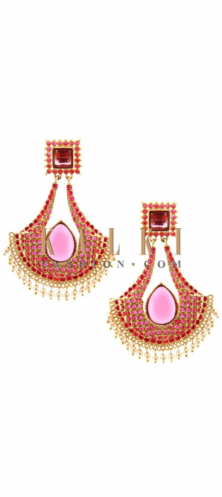 Buy Online from the link below. We ship worldwide (Free Shipping over US$100) Price-$29 Click Anywhere to Tag http://www.kalkifashion.com/pink-earring-embellished-in-kundan-only-on-kalki.html Tag PhotoAdd LocationEdit