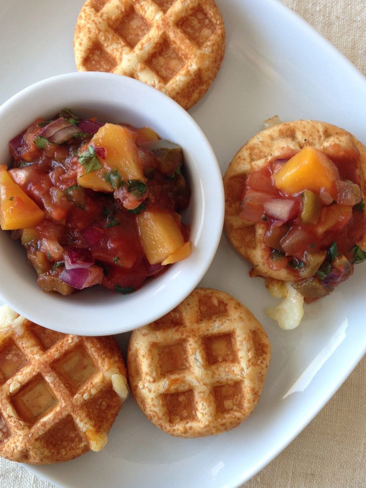 ... bite salsa topper iron serve waffle bites peach salsa recipes peach