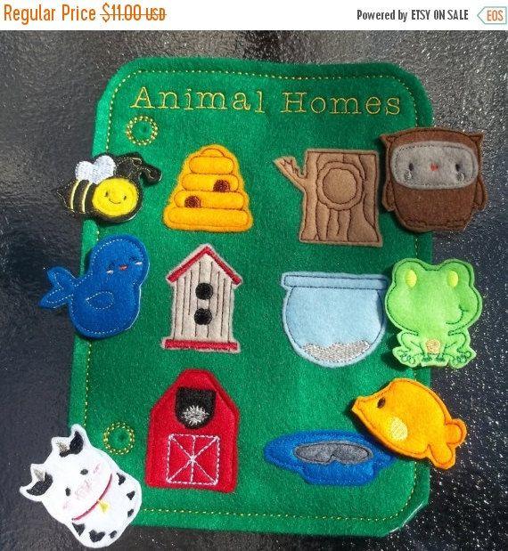On Sale Learn Animal Homes Teach Felt Game Busy Book Felt Board Flannel Board Page Storage w pieces Bee Bird Cow Fish Frog Owl Hive Barn Tre