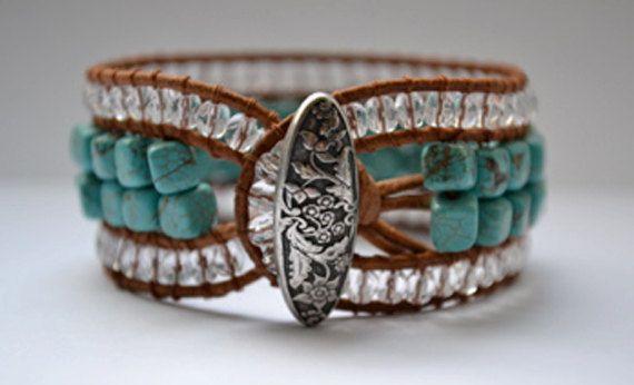 Chan lu turquoise Leather Beaded Cuff Bracelet  Boho Bracelet by RealMoxie, $60.00