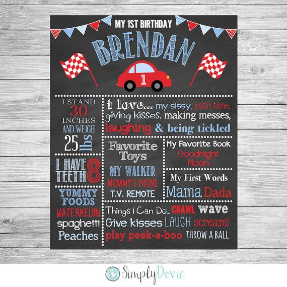 Little Red Car First Birthday Chalkboard Poster Printable Little by SimplyDovie