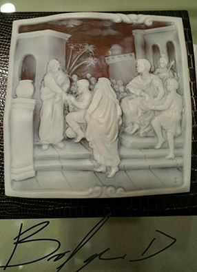 first station of Via Crucis - Cameo on Sardonyx shell top quality - handcarved
