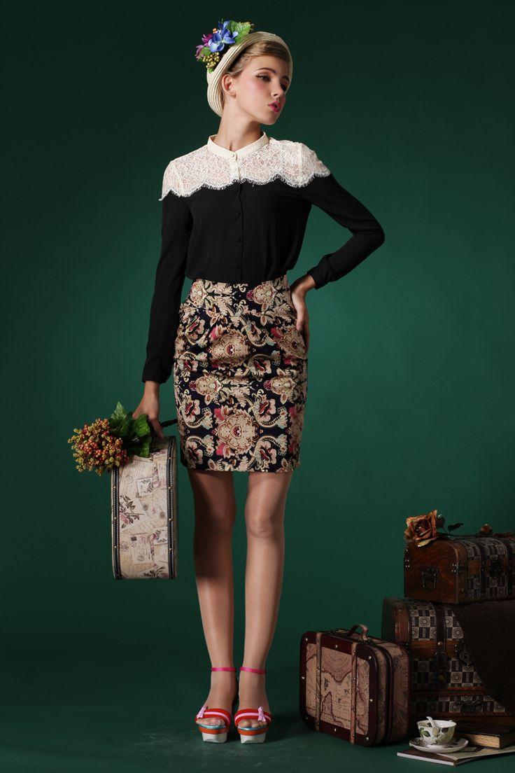 Узкая винтажная юбка выше колена с чем носить