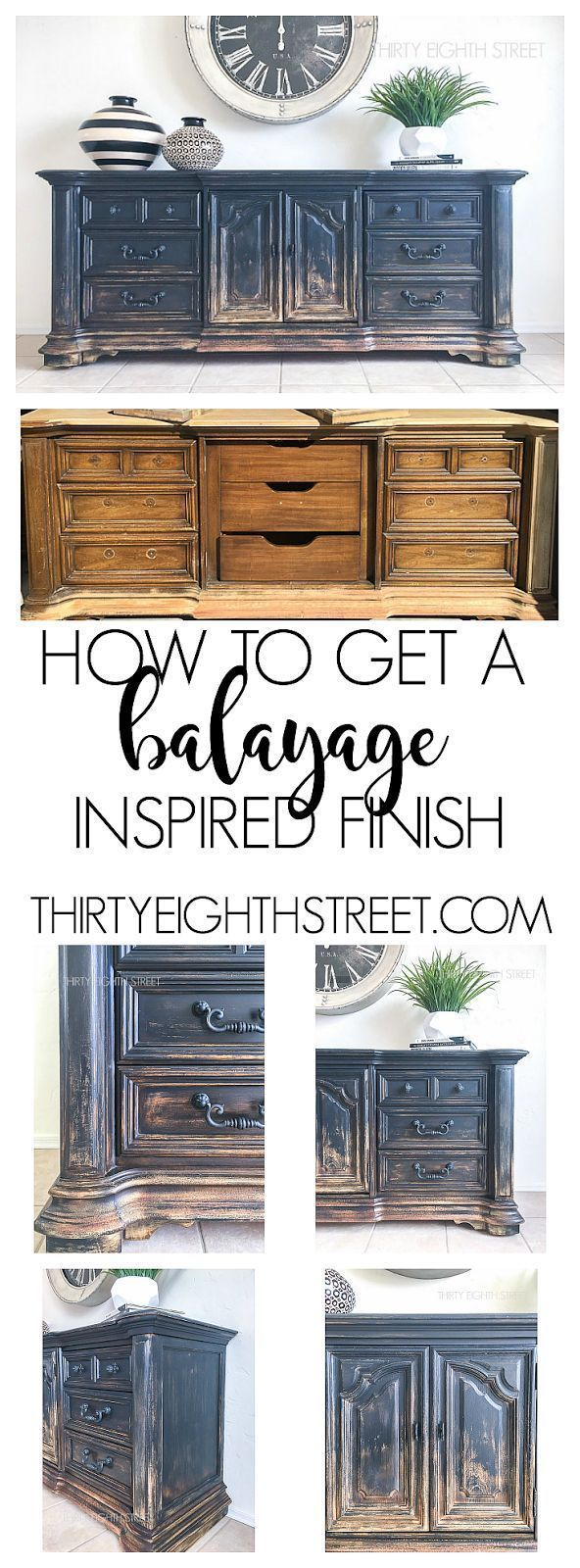 Balayage Coloring on Furniture by Thirty Eighth Street. Painting Technique designed to give your furniture a rustic farmhouse finish! #farmhouse
