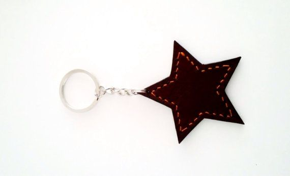Keychain leather star van NHLdesign op Etsy