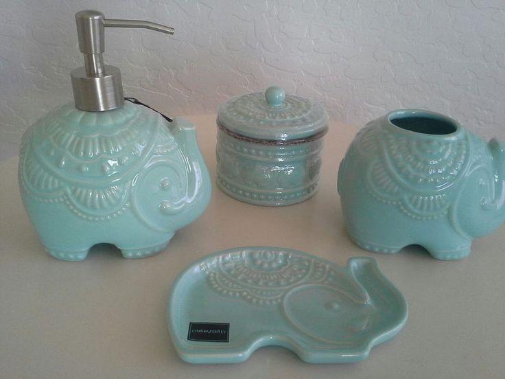 Cynthia Rowley Bath Collection Soap Dish Dispenser Mint Green Elephant Holder Gardens Green