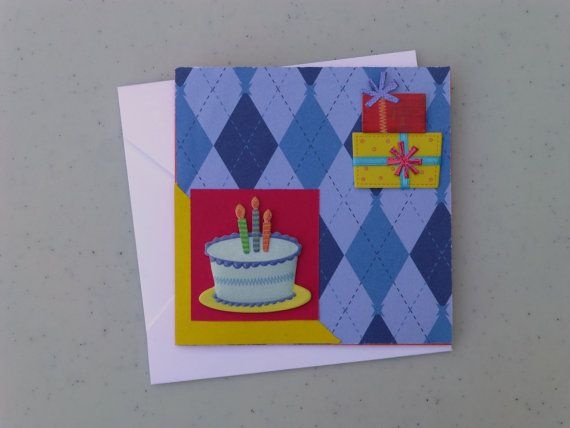Fun blue argyle Birthday Card with presents and cake. -PeppyPaper