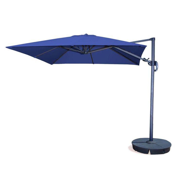 Island Umbrella Santorini II 10 ft. Square Cantilever Patio Umbrella in Blue Sunbrella Acrylic