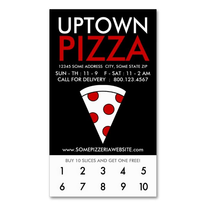 uptown pizza loyalty Double-Sided standard business cards (Pack of 100). This great business card design is available for customization. All text style, colors, sizes can be modified to fit your needs. Just click the image to learn more!