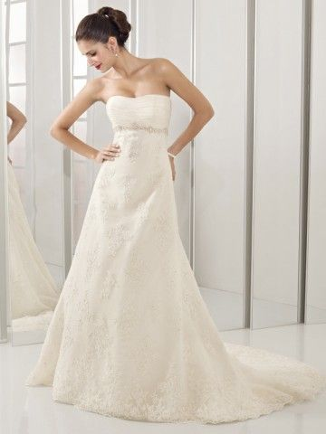 US $191.99 | (FITS0257673)2012 Style A-line Sweetheart Beading Sleeveless Court Trains Lace Wedding Dresses For Brides
