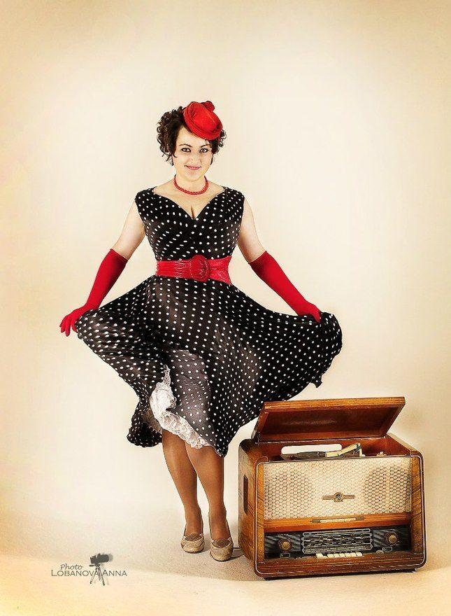Винтажное платье 1950 в горошек, аренда на next2u.ru