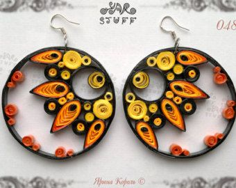 Quilled Paper Dangle Earrings  1st Paper Anniversary Gift for Her