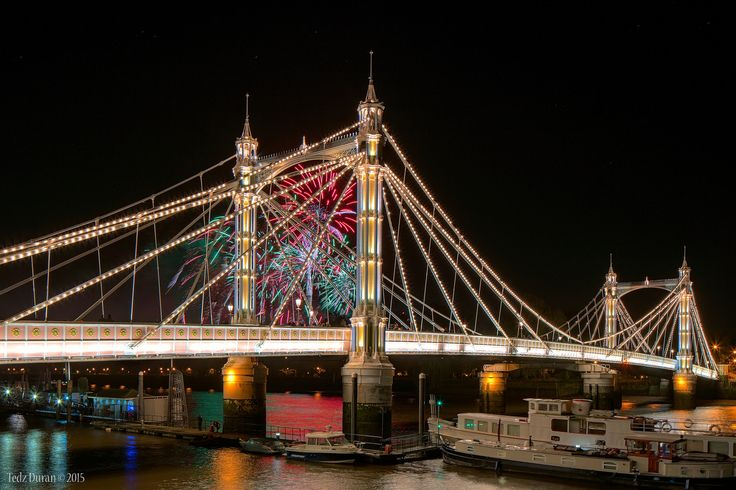 Battersea Fireworks 2015  Albert Bridge crossing the River Thames