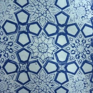 20 Sheeting Cotton Fabric Hand Block Printed GEO CHOKRI SKU 11120 | Block Printed Fabric By Yard