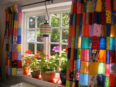 patchwork curtains, unfortunately if I patchwork EVERYTHING there will be nowhere to rest the eye. Sigh....
