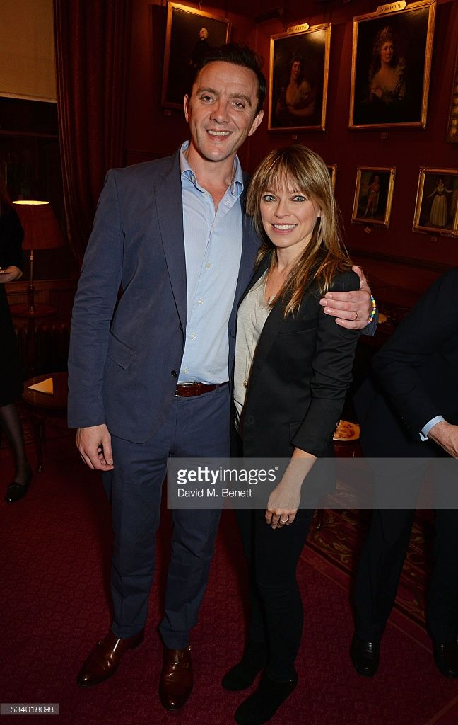 Peter Serafinowicz (L) and Sarah Alexander attend the press night after party for 'A View From Islington North' at The Garrick Club on May 24, 2016 in London, England.