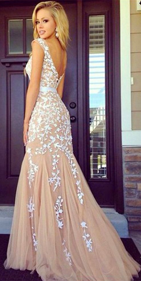 Scoop Sexy Backless Long Evening Dress Appliqued Mermaid Formal Dresses,open back lace dress,backless lace evening dress,Mermaid prom dress party dress,long prom dress modest