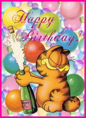 Happy Birthday - Fête - Anniversaire - Garfield - Champagne - Gifs scintillants