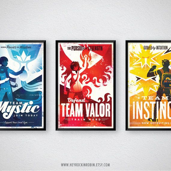 Pokémon Go Team Leader Poster Set | Retro Cool Pokemon Trainer Game Wall Art | Team Instinct, Team Valor, Team Mystic