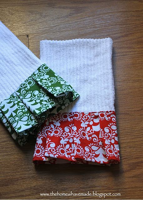 quick and easy embellished dish towels