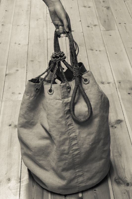 Traditional handcrafted seabag in heavy linen sail cloth - made by MSAILS at Beckholmen, Stockholm Sweden
