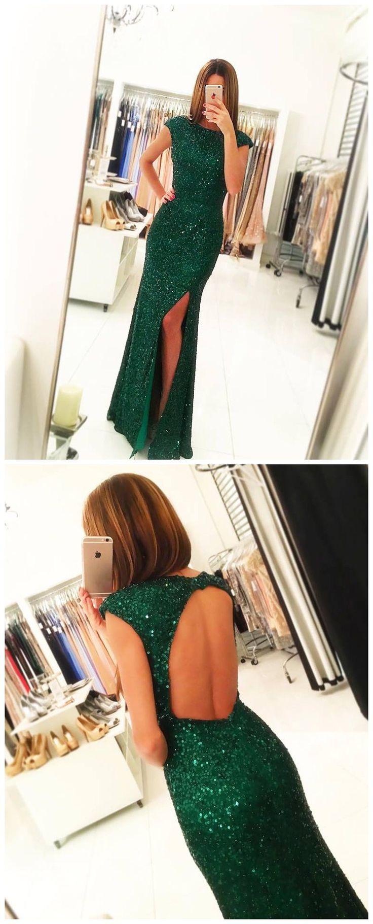 green sequin prom dress,backless sexy dress for prom 2017,cap sleeve prom dress