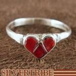 Zuni Native American Indian Jewelry Coral and Silver Heart Ring