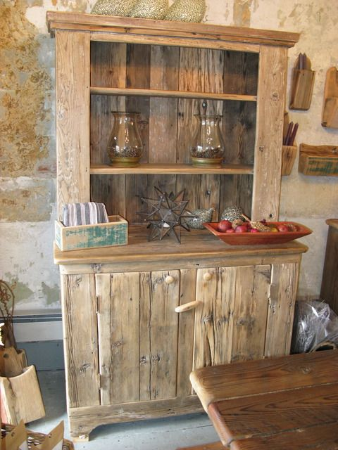 Hutch made from reclaimed wormy chestnut barn lumber. Dad made one similar to this for me, but mine has glass doors on top.