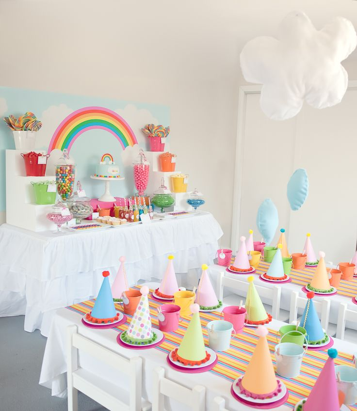 Rainbow Party, sew clouds around helium balloons