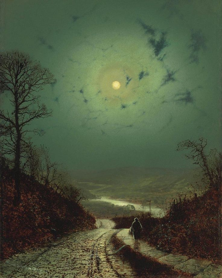 "Moonlight, Wharfedale – 1871. Künstler: 🏴 John Atkinson Grimshaw Wo: 📍Private Collection Photo:… """